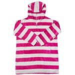 Pink & White Stripey Towelling Hooded Beach Dress UPF 50+